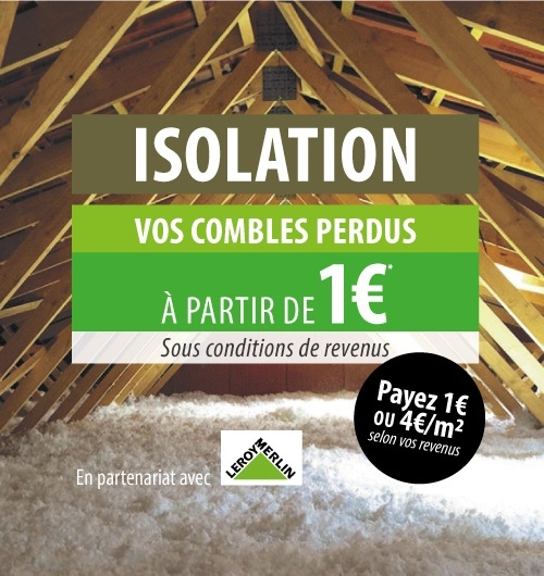 Isolez vos combles perdus pour 1€ ou 4€/m² selon vos revenus avec Kbane !