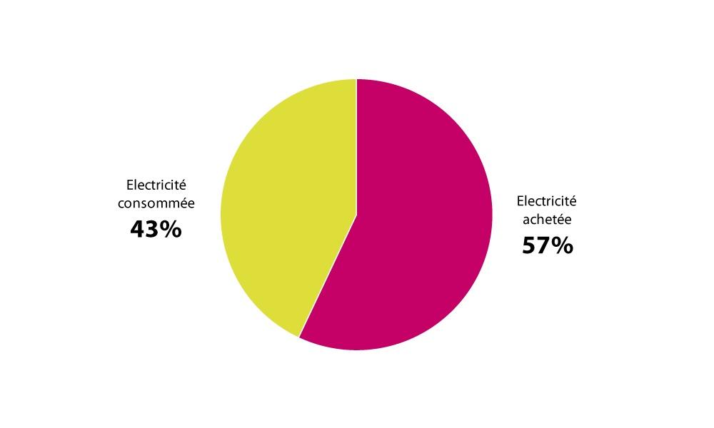 Répartition de la consommation et l'achat d'électricité