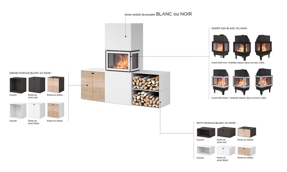 Poêle à bois Box modules et foyers