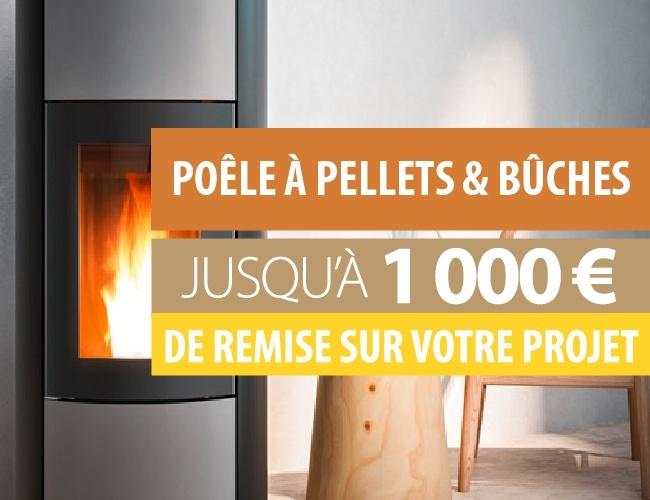 Jusqu'à 1000 € de remise sur votre projet poêle à bois ou pellets