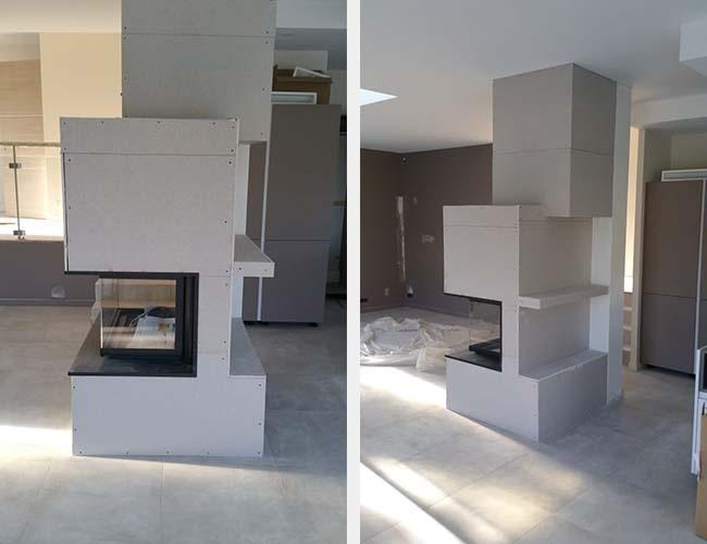 Création d'une cheminée à bois 3 faces sur-mesure à Fleurieu-sur-Saône (69)