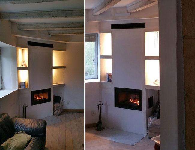 Pose d'un insert à bois Dovre en rénovation de cheminée à Sourcieux-les-Mines (69)