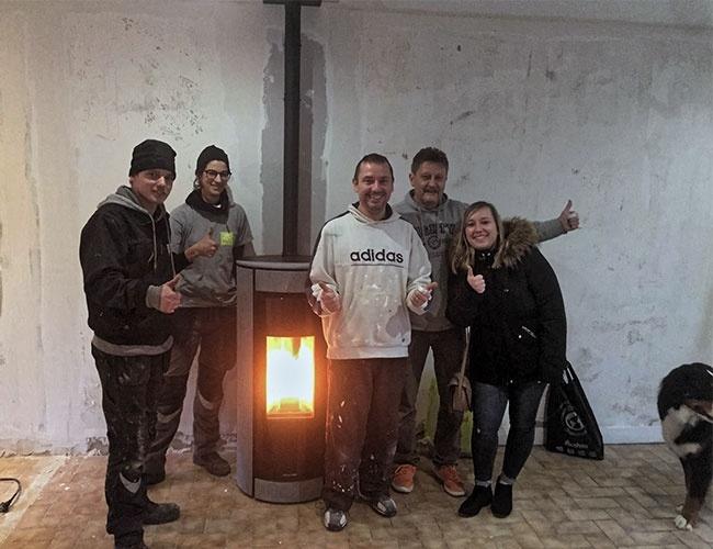 Installation d'un poêle à pellet JM Botero à Allennes-les-Marais