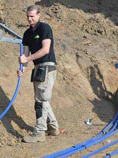 Pose d'un capteur pour une pompe à chaleur en géothermie