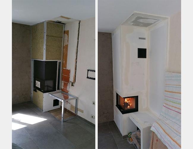 Rénovation d'une cheminée à bûches à Saint-Genis-les-Ollières (69)